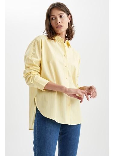DeFacto Basic Oversize Fit Poplin Gömlek Tunik Sarı